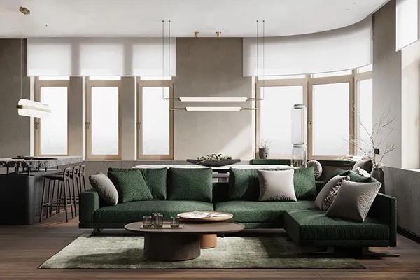 現代室內設計中空間的分隔主要體現在光環境、色彩、聲與材質上。